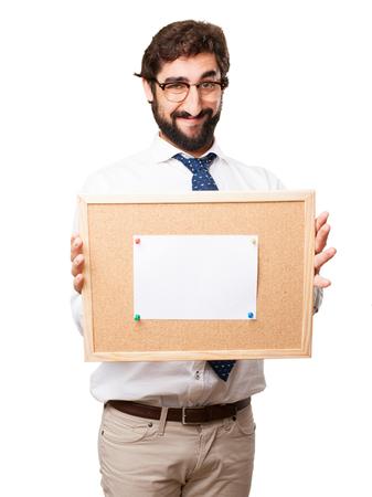 cork board: businessman with cork board