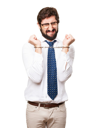 fettered: businessman with handcuffs