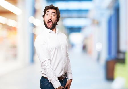 nervousness: crazy amazed man