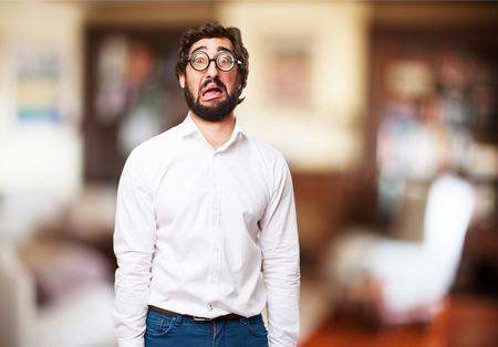bobo: hombre tonto triste Foto de archivo