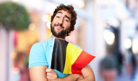 belgium flag: crazy man with belgium flag
