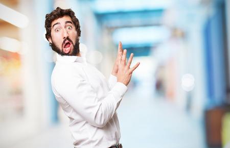 crazy verbaasd man Stockfoto
