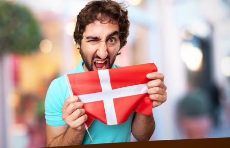 denmark flag: crazy man with denmark flag