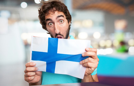 finland flag: crazy man with finland flag