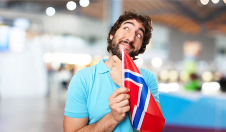 norway flag: crazy man with norway flag Stock Photo