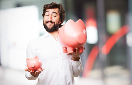 man with a piggy bank photo
