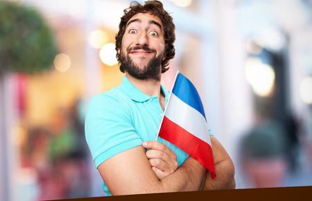crazy man with yugoslavia flag