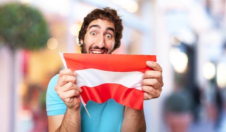 austria flag: crazy man with austria flag Stock Photo