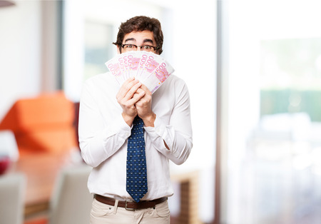 bank notes: businessman with bank notes Stock Photo