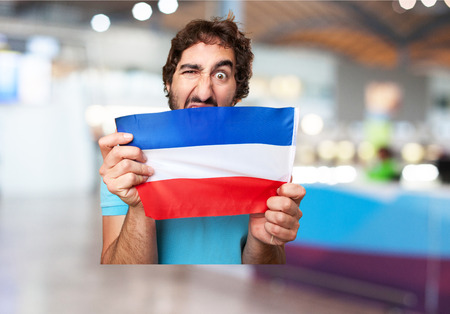 yugoslavia: crazy man with yugoslavia flag