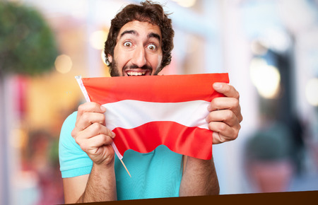 austria flag: crazy man with austria flag Archivio Fotografico