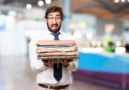 fool businessman with archives
