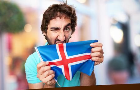 flag of iceland: hombre loco con la bandera de islandia