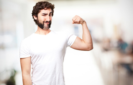 loony: crazy strong man Stock Photo