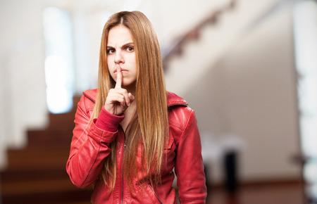 noiseless: blond woman silence Stock Photo