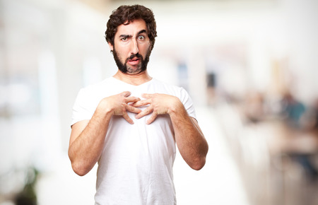 loony: crazy confused man Stock Photo