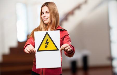 woman electric danger concept photo