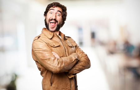 conform: crazy man laughing Stock Photo