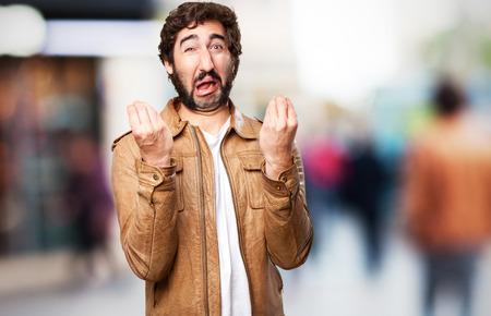 loony: hipster sad man Stock Photo