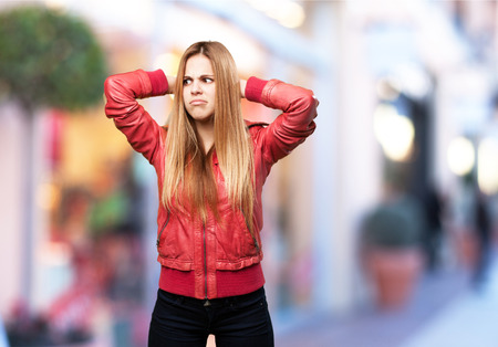 blond woman confused photo