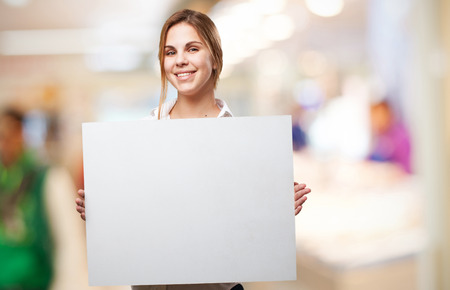blond woman with a placard photo