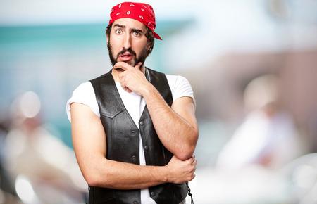 loony: motorbike vintage rider worried