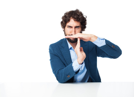 provoked: angry businessman time out Stock Photo