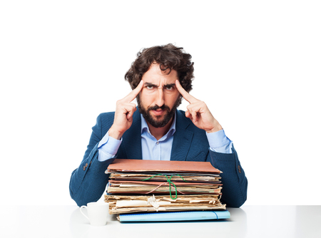 businessman thinking with files Stock Photo