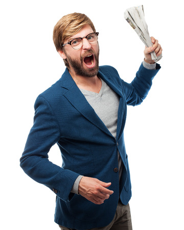 huffy: angry businessman with newspaper Stock Photo