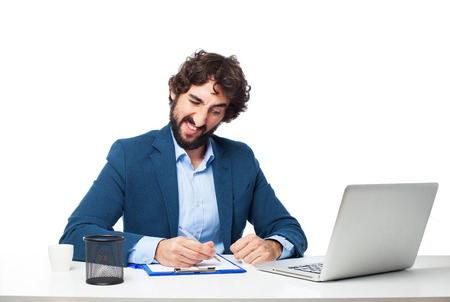 huffy: angry businessman with laptop