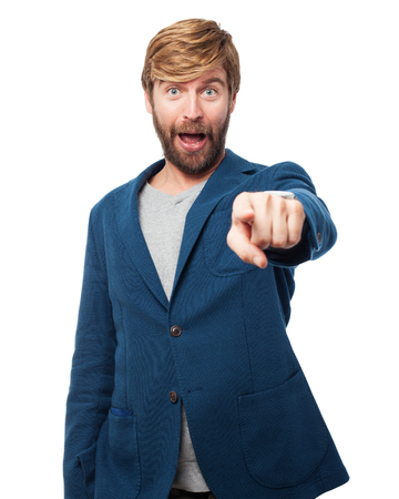 front of: surprised businessman pointing front Stock Photo