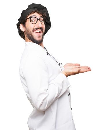 manifest: happy cook man showing gesture