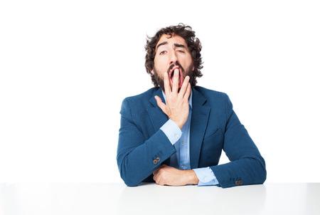 disinterest: boring businessman yawning