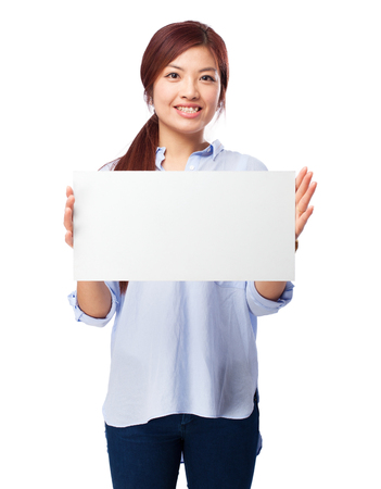 happy chinese woman with banner Stock Photo