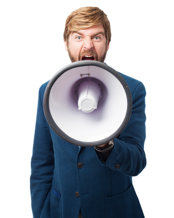 huffy: angry businessman with megaphone