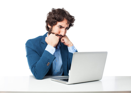 provoked: angry businessman with laptop