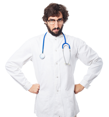 provoked: angry doctor-man disagree pose