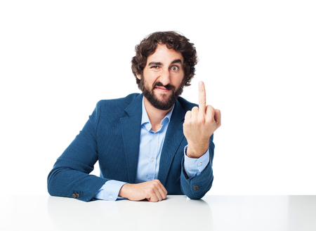 huffy: angry businessman disagree concept Stock Photo