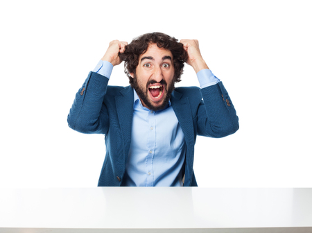 bothered: angry businessman shouting