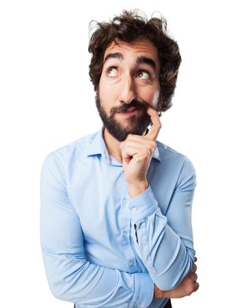 dudando: joven concentrada dudar
