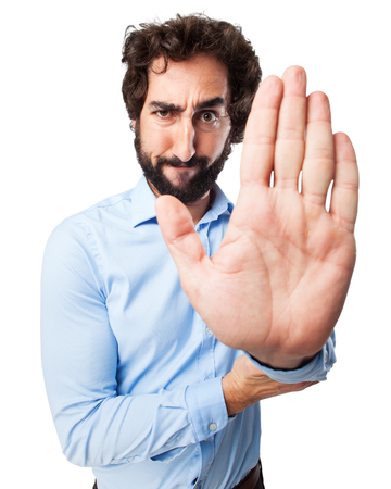 provoked: angry young man stop gesture