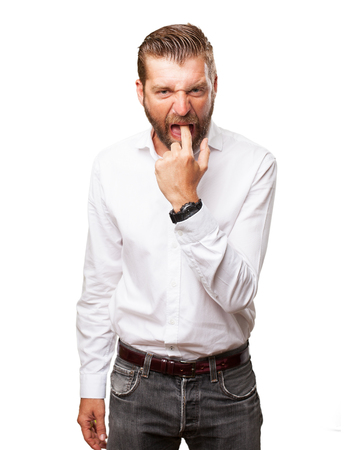 huffy: angry young man vomit sign Stock Photo