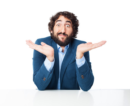 confused businessman with sit table Imagens