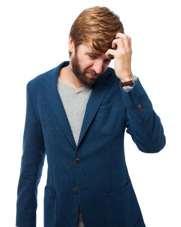 sad businessman crying