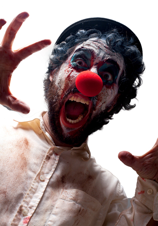 huffy: crazy clown man angry expression