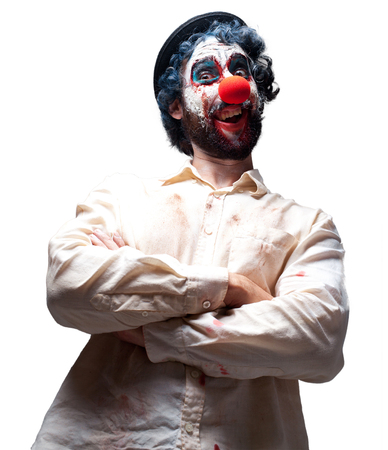 crazy clown man angry expression