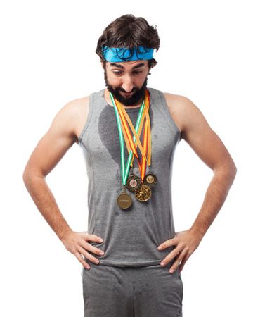 tiresome: tired sport man with medal
