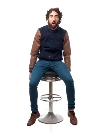 bar stool: boring young man with bar stool