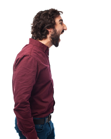 provoked: angry young man shouting