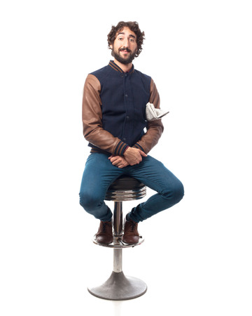 stool: young man with newspaper bar stool